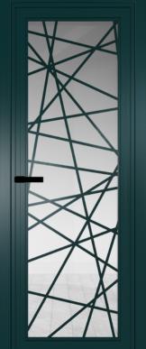 Фото двери Профильдорс (Profildors)  цвет Зеленый матовый RAL6004 стекло Прозрачное рисунок Рисунок 4